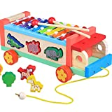 Youtop 8 Tones Rainbow Colorful Animal Steerable Wooden Car Musical Toy For Kids Knock Piano/ Xylophone