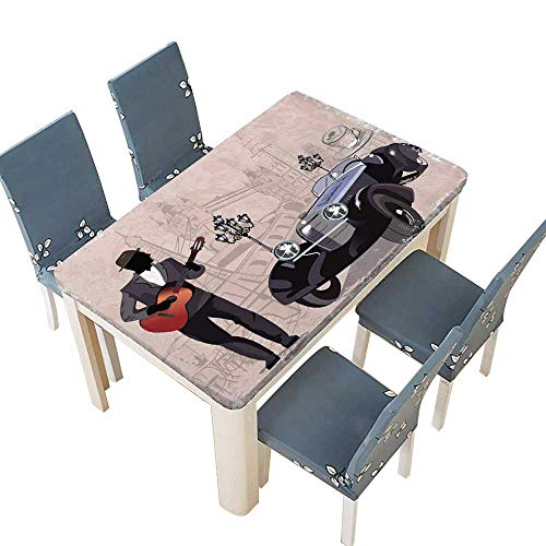 ablecloth Series of Vintage s ated with Retro Cars Musicians Spillproof Tablecloth W37.5 x L76.5 INCH (Elastic Edge) ()