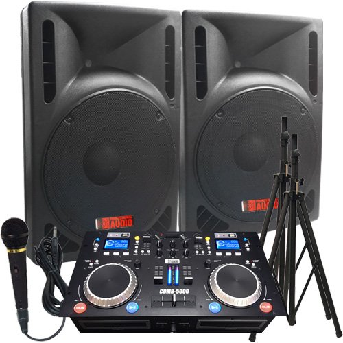 - The Ultimate DJ System - 2400 WATTS! Perfect for Weddings or School Dances - Connect your Laptop, iPod via Bluetooth or play CD's! - 15