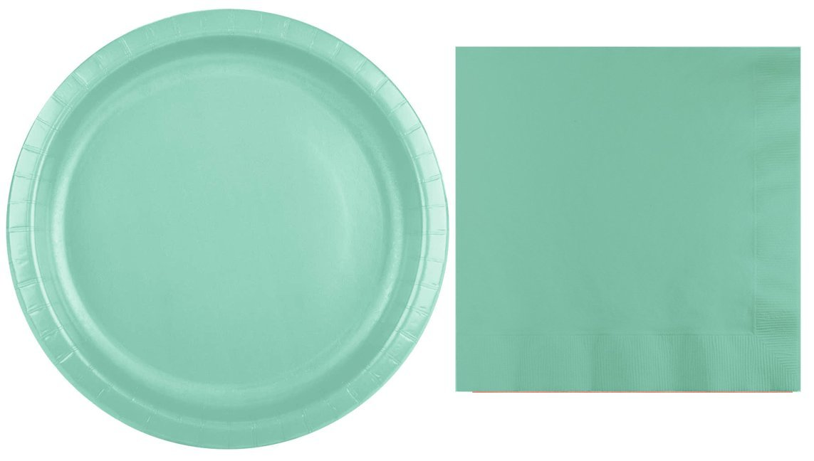 Plates and Napkins Mint Solid Color Party Supply Kit