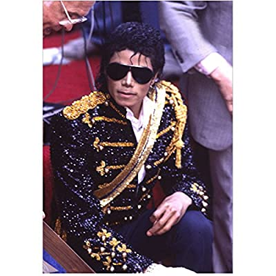 Michael Jackson King of Pop Seated in Sequin Jacket 8 x 10 Inch Photo