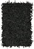 Safavieh Leather Shag Collection LSG601A Hand-Knotted Black Decorative Area Rug (8' x 10')