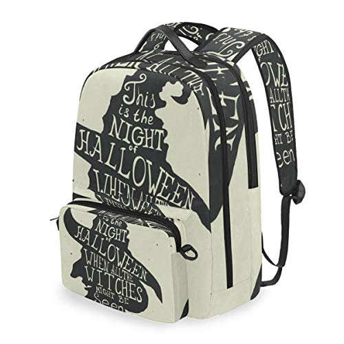 Halloween Grungy Witch in Hat Quote 2 in 1 Travel Backpack with Detachable Cosmetic Bag ()