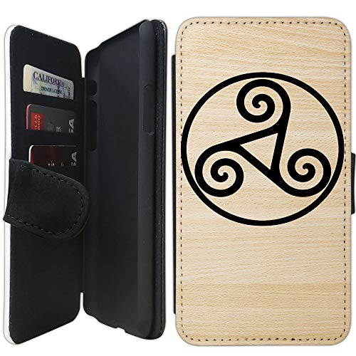 Flip Wallet Case Compatible with iPhone Xs MAX (6.5 inch) (Triskele Triskelion) with Adjustable Stand and 3 Card Holders | Shock Protection | Lightweight | Includes Free Stylus Pen by Innosub