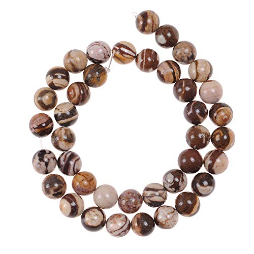 45pcs 8mm Australian Zebra Jasper Beads for Jewelry Making Adult Bracelets Necklace Natural Stone Round Beads for Craft Projects