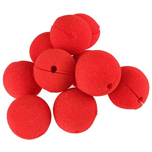 SODIAL 10Pcs Adorable Red Ball Sponge Clown No for Party Wedding Decoration Christmas Halloween Costume Magic Dress -