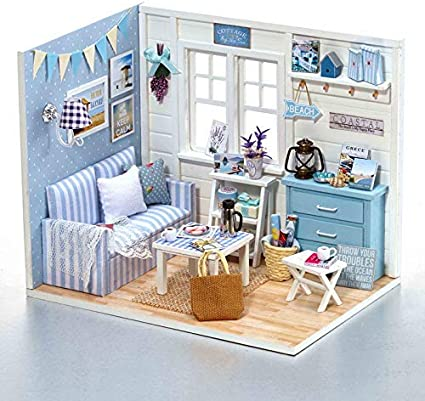 4 Set Wooden Doll House Miniature Furniture Home Living Room Children Toy Gift