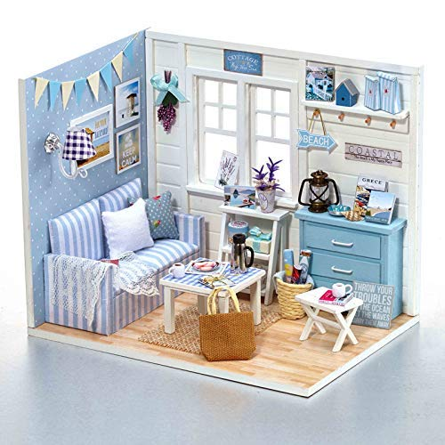 TuKIIE DIY Wooden Miniature Dollhouse Toy Set Model Kit with Furniture and Accessories Creative Handcraft Jigsaw Educational Toy Great Birthday Gifts for Boys Girls Kids ()