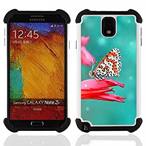 - Butterfly Fly Beautiful Colorful - - Fulland Deluxe Hybrid TUFF Rugged Shockproof Rubber + Hard Case Cover FOR Samsung Galaxy Note 3 III N9000 N9008V N9009 Queen Pattern