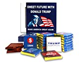 """❖THIS IS A FUNNY FOOD GIFT IDEA FOR YOUR FAMILY AND FRIENDS!❖ Chocolate set """"Sweet future with Donald Trump"""" will be a great gift idea for your family and friends. Chocolate set contains 18 chocolate bars: 15 with the official policies of Donald Trum..."""