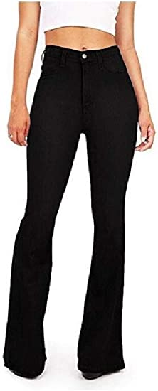 Nicellyer Women Denim Over Waist Plus-size Long Pants Flare Loose Hiphop Jeans