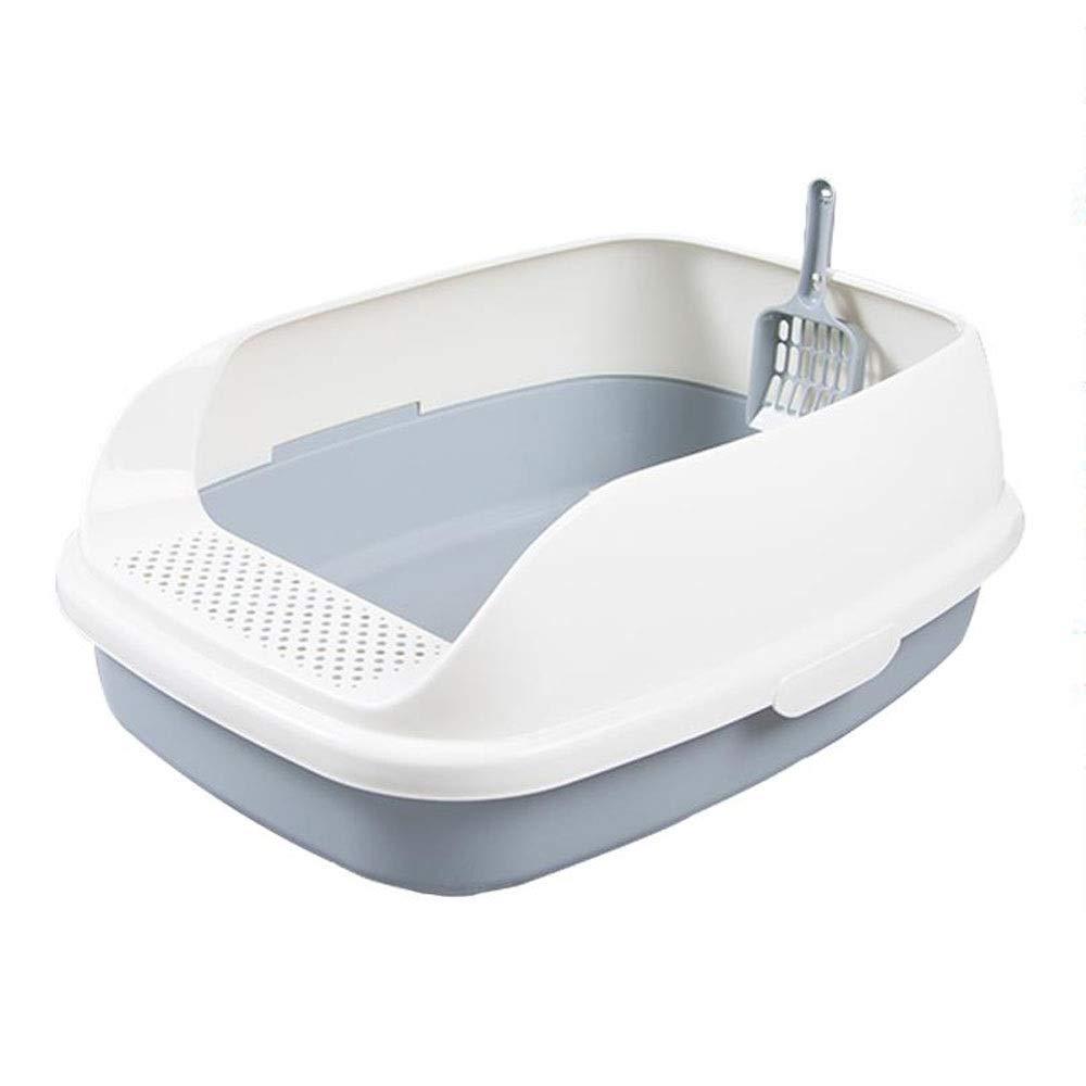 CattleBie トイレボックス猫トイレ洗面器セミクローズドビンポータブルアンチスプラッシュ脱臭クリーニングビントイレトイレイージーリターキャットリターフタ付き複数の猫に最適 (Color : Gray) Gray