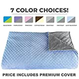Premium Weighted Blanket, Perfect Size 60' X 80' and Weight (15lb) for Adults and Children. Deluxe CALMFORTER(tm) Blanket. Price Includes Cover!