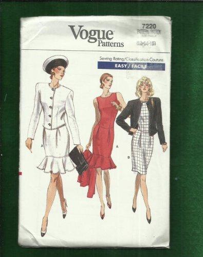 Vogue 7220 Fitted Dress with Shaped Waist & Flounce Tier Bolero Jacket Sizes 6-8-10 UNCUT Sz 6 8 10 , vintage 80s Tier Flounce