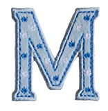TrickyBoo Iron-On Letter Patch Craft Applique M Baby Blue 5Cm For Names Crafts Jeans Clothing Fabric To Iron On Craft Embroidered Motifss Personalize Applique Sew On Iron On Patches Personally Clothe