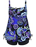 Septangle Women's Plus Size Bathing Suits Floral Print Two Piece Pin up Swimwear (Royal Blue,US 18)