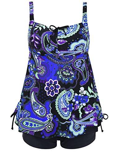 Septangle Women's Plus Size Bathing Suits Floral Print Two Piece Pin up Swimdress (Royal Blue,US 14)