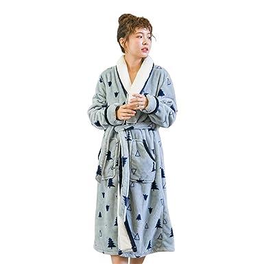 WKNBEU Unisexo Señoras Hotel Dormir Vestido Largo 100% De Lujo Azul Impresión Grueso Bata De