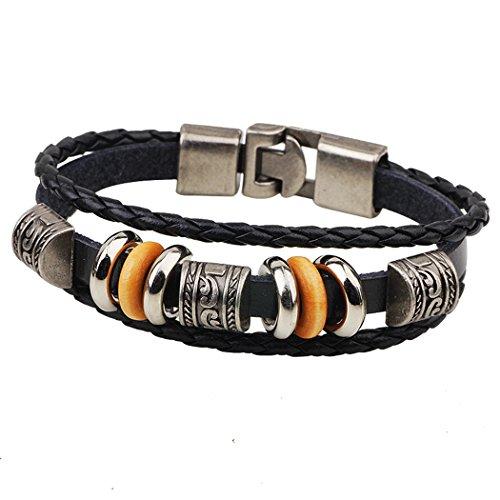 MORE FUN Vintage Engraved Metal Beads Braided Rope Bangle Black Leather Bracelet (Bender Costume 2016)
