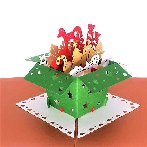 Pop Up Christmas Card, Paper Love Santas Gift box Card, Popup Xmas Cards, 3D Holiday Card