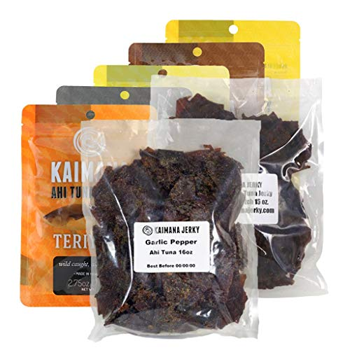 Flavor Fish Jerky - Kaimana Jerky Ahi Tuna Variety - 7 Pack Bundle, Protein Rich & High Omega-3's - Flavorful, All Natural, Wild Caught Fish Jerky. Made in Hawaii, USA.