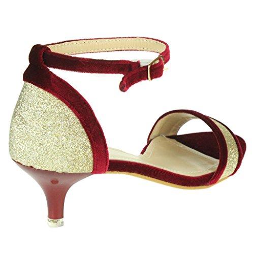 Mujer Señoras Sparkly Corte de terciopelo Punta abierta Correa de tobillo Tacón de gatito Noche Boda Fiesta Nupcial Sandalias Zapatos Talla Rojo
