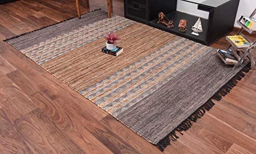 URBAN86 Falcon Leather Rug Black/Brown Striped Area Rug 5×8 FT