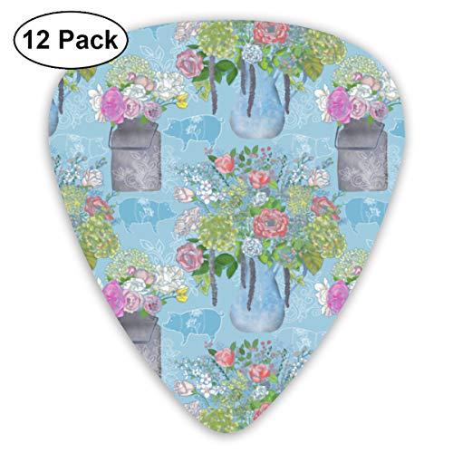 (Farmhouse Floral Small Medium Large 0.46 0.73 0.96mm Mini Flex Assortment Plastic Top Classic Rock Electric Acoustic Guitar Pick Accessories Variety Pack)