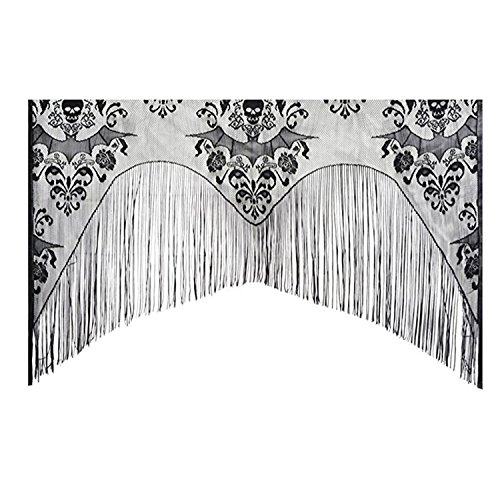 JUSTDOLIFE Halloween Window Curtain Lace Spider Web Curtain Cover Window Valance with Tassel 38