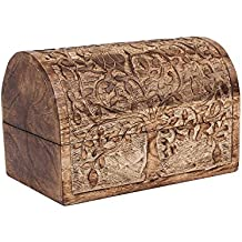 Hand Carved Wooden Keepsake Box Trinket Jewelry Storage Organizer with Tree of Life Motif Home Decor
