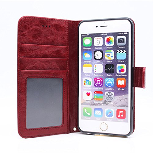 JNTworld Oil Wax Horse Pattern Wallet-type Ultra-thin iphone6 Plus Case, red