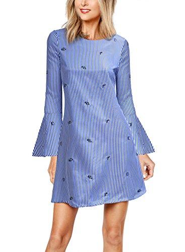 WOOSEA Women's Bell Sleeve Casual Plain Flowy Simple Swing Stripe Dress