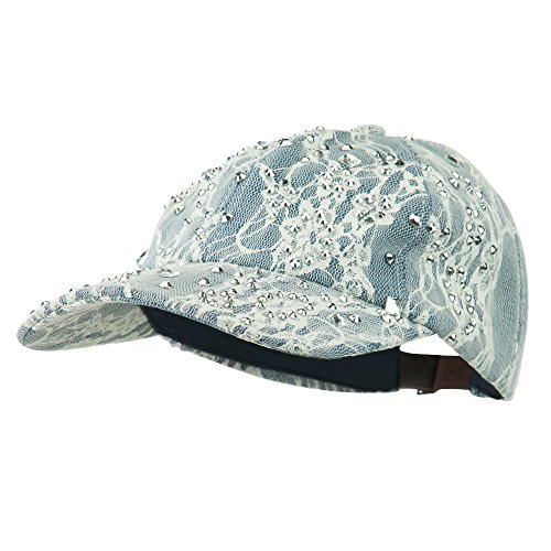 - SS/Hat Rhinestone and Lace Baseball Cap - Denim OSFM