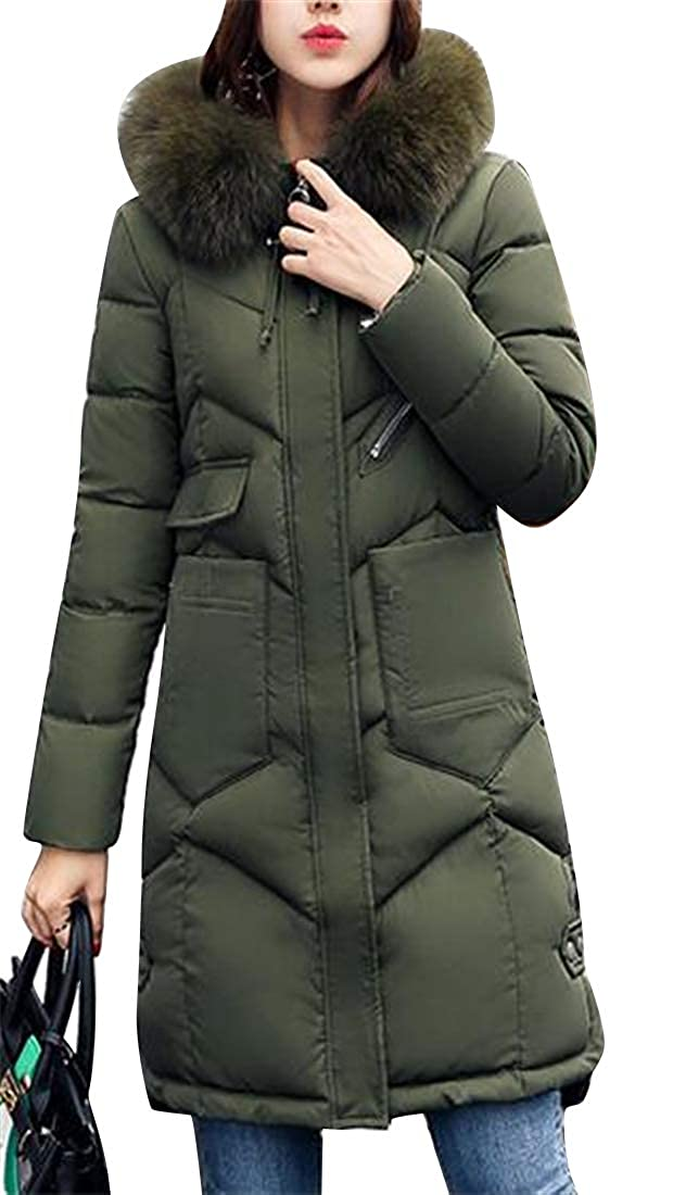 SHOWNO Womens Thermal Casual Faux Fur Hoodie Slim Fit Down Quilted Jacket Coat Outerwear