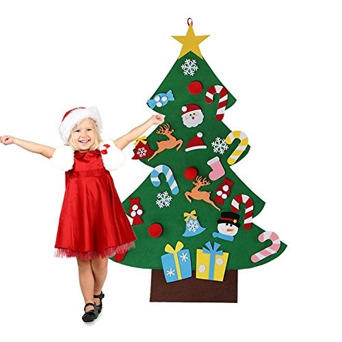 Felt Christmas Tree Decorations Set with Ornaments - Double Stitched- Wall Hanging-Handmade 26 pcs detachable Christmas ornaments 3.1FT (Ornaments Fabric Christmas Diy)