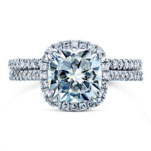 Cushion Brilliant Moissanite and Diamond Halo Bridal Wedding Rings Set 2 3/8 CTW 14k White Gold (FG/VS, GH/I), 5.5 by Kobelli (Image #3)
