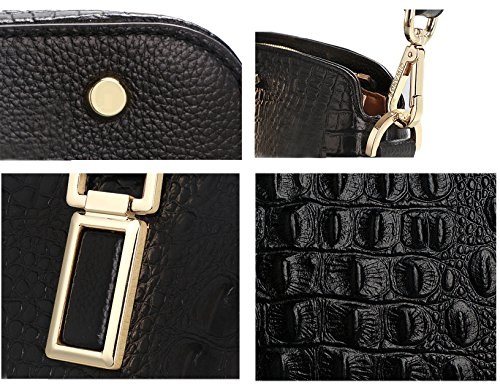 Womens Designer SAIERLONG Genuine Deluxe Handbags Bags Ladies Black Shoulder Leather 5EFFq7P