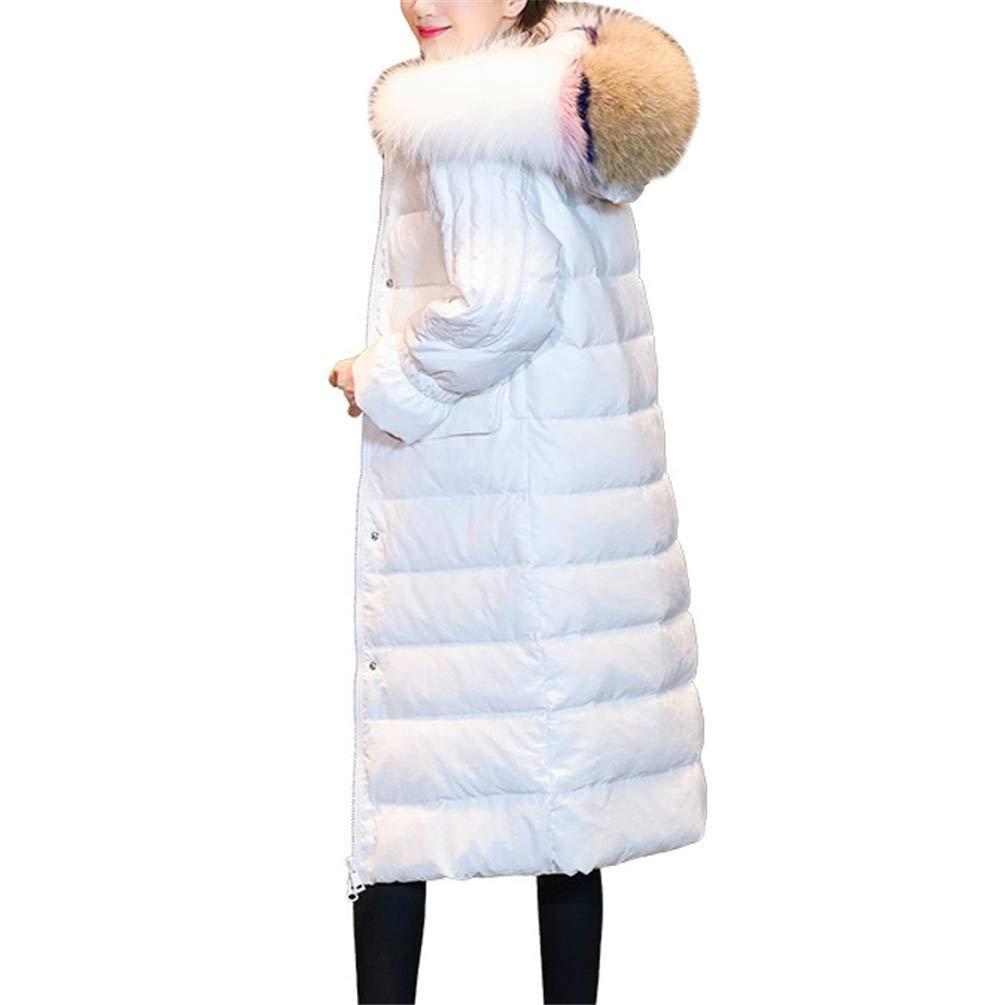 LQYRF Winter Damen Lange Abschnitt Warme Mode Farbe Pelzkragen Daunenjacke Mit Kapuze