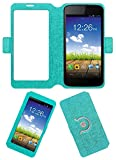 Acm SVIEW Window Designer Rotating Flip Flap Case for Micromax Canvas A1 Aq4502 Mobile Smart View Cover Stand Turquoise