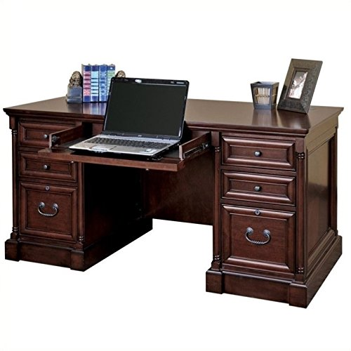 Hardwood Veneer Furniture Collection - Martin Furniture Mount View Efficiency Double Pedestal Desk - Fully Assembled