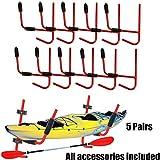 XFMT 5 Pairs Kayak Ladder Wall Mount Storage Rack Bike Surfboard Canoe Folding Hanger 100LBs SUP Paddleboard Snowboard Surfboard Wakeboard Wall Cradle Hanger Storage Rack Shelf