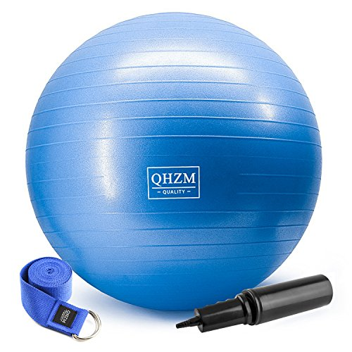 Exercise Ball Anti Burst and Slip Resistant Yoga Ball Training Exercise Equipment with Strap for Home, Workout,Balance, Gym, Core Strength, Yoga, Fitness, Desk Chairs (Blue)