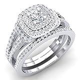 1.00 Carat (Ctw) 14K White Gold Round Diamond Ladies Bridal Halo Engagement Ring Set 1 CT (Size 8)