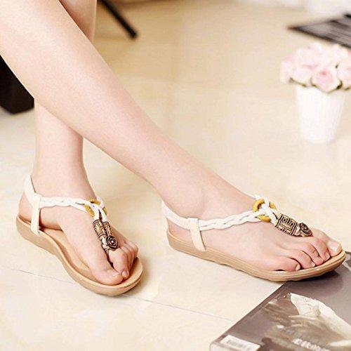 Sandalias de mujer, Internet Las sandalias dulces de Bohemia del verano acortan los zapatos de la playa de las sandalias del dedo del pie Beige