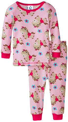 Gerber Baby Girls' Pony 2 Piece Thermal Pajamas, Pony, 12 Months