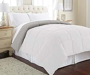 Amrapur Overseas Goose Down Alternative Microfiber Quilted Reversible Comforter/Duvet Insert - Ultra Soft Hypoallergenic Bedding - Medium Warmth for All Seasons - [Twin, White/Gray]