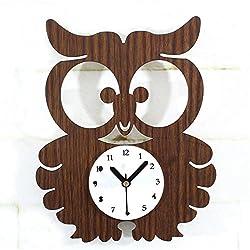 Zehui Cute Owl Wall Clocks, Kids Room Quartz Clock Home Office Decor, Retro Wood Creative Mute Wall Clock