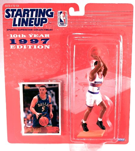 1997 - Kenner - Starting Lineup - 10th Anniversary - NBA - Jason Kidd #32 - Phoenix Suns - Vintage Action Figure - w/ Trading Card - Limited Edition - -