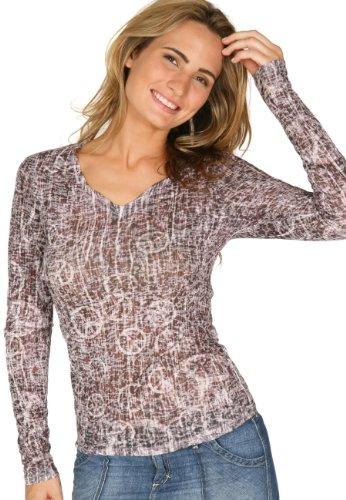 Kavio! Women Burnout Peace Out Sublimation V Neck Long Sleeve Charcoal L