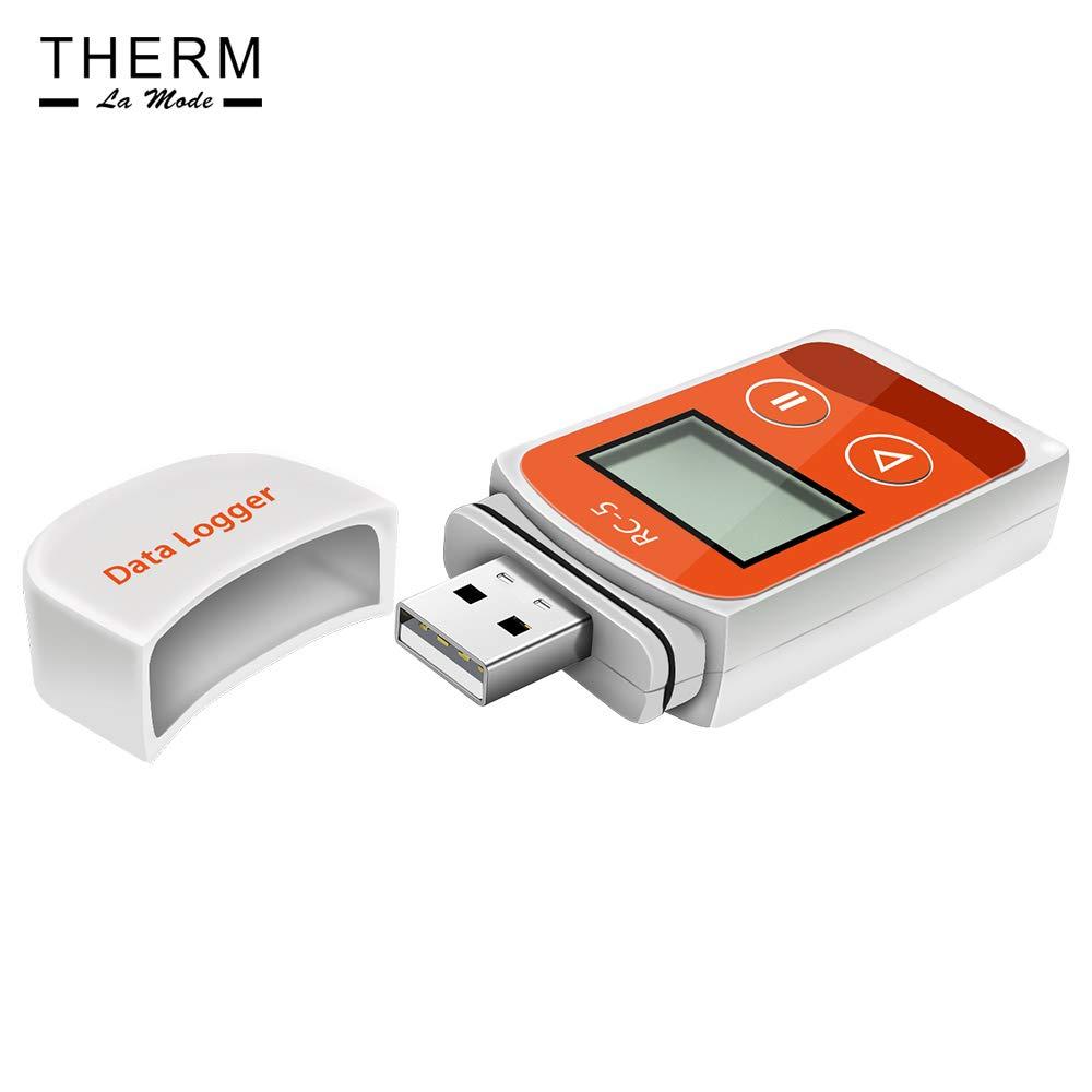 arancione riutilizzabile Registratore di dati di temperatura Therm USB Registratore di temperatura report PDF automatico 32000 punti Alta precisione lettura diretta dei rapporti